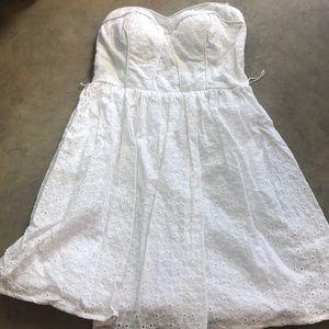 Strapless white lace eyelet pattern dress